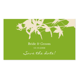 Leaf design Save the date GREEN Double-Sided Standard Business Cards (Pack Of 100)