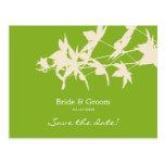 Leaf design Save the date GREEN Postcard