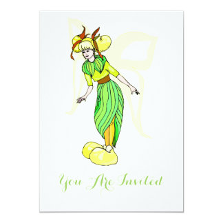 Leaf fairy In Green And Yellow Card