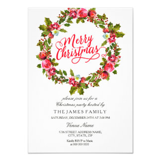 Leaf Floral Wreath Red Christmas Party Invite