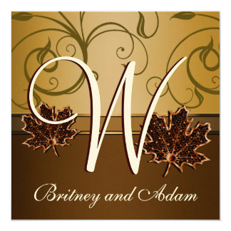 Leaf Gold Chocolate Brown Fall Wedding Invitations