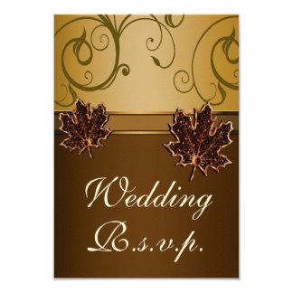 Leaf Gold Chocolate Brown Fall Wedding RSVP Cards