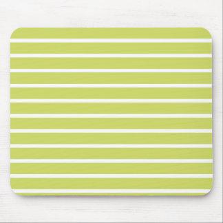 Leaf Green Horizontal Stripe Pattern Mouse Pad
