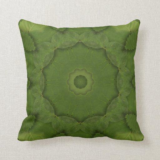 Leaf Green Kaleidosope Throw Pillow