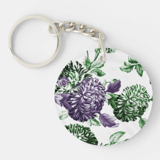 Leaf Green & Mulberry Garden Botanical Floral Keychain