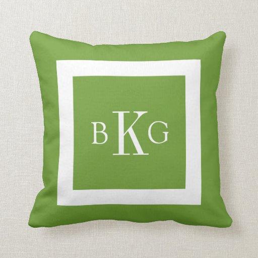 Leaf Green White Custom Monogram Throw Pillow