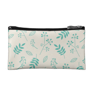 Leaf Greenery Nature Floral Ivory and Mint Blue Makeup Bag