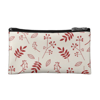 Leaf Greenery Nature Floral Ivory and Red Makeup Bag