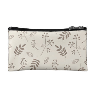 Leaf Greenery Nature Floral Ivory and Taupe Makeup Bag