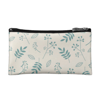 Leaf Greenery Nature Floral Ivory and Teal Blue Makeup Bag
