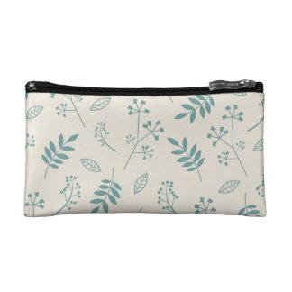 Leaf Greenery Nature Floral Ivory and Teal Blue Makeup Bag