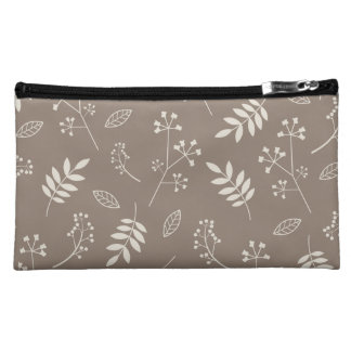 Leaf Greenery Nature Floral Taupe and Ivory Cosmetics Bags
