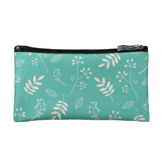 Leaf Greenery Nature Floral Teal Blue and Ivory Cosmetics Bags