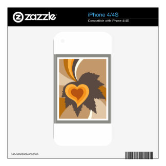 Leaf heart abstract skins for iPhone 4