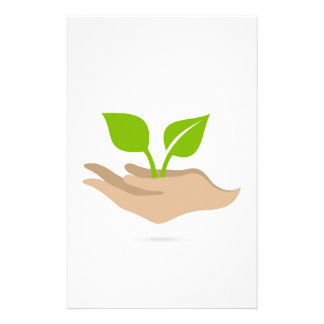 Leaf in hands stationery