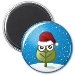 Leaf In Snow Globe Fridge Magnets
