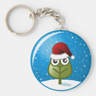 Leaf In Snow Globe Keychain