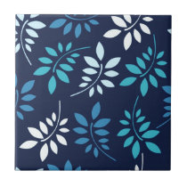 Leaf it to Me Blue Leaf Pattern Ceramic Tile