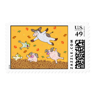 Leaf Jumping Time!  Holly Cow and Friends Postage
