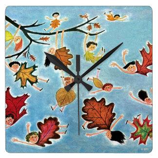 Leaf Kids Square Wall Clock