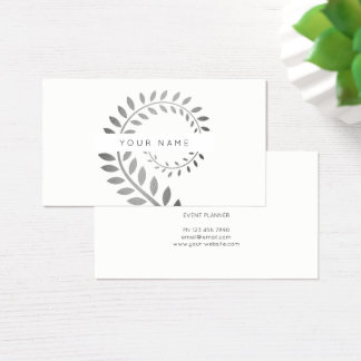 Leaf Laurel Fern Botanic Silver Serpentine White Business Card