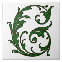 Leaf Letter G in Green Monogram Tile