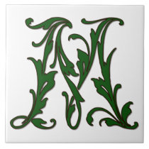 Leaf Letter M in Green Monogram Tile