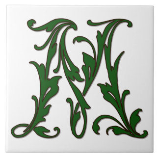 Leaf Letter M in Green Monogram Tile