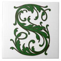 Leaf Letter S in Green Monogram Tile