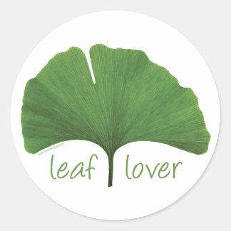 Leaf Lover Tree Hugger Round Sticker