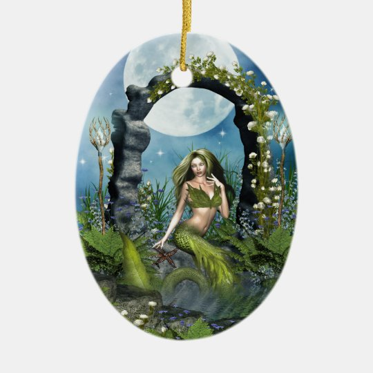 Leaf Mermaid Ceramic Ornament