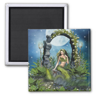 Leaf Mermaid 2 Inch Square Magnet