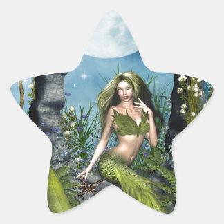 Leaf Mermaid Star Sticker