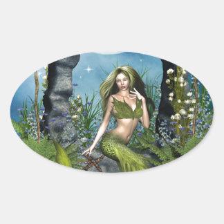 Leaf Mermaid Oval Sticker