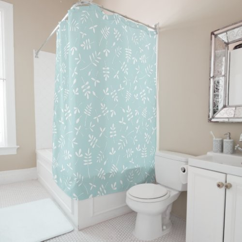Leaf Mix Pattern White on Duck Egg Blue Shower Curtain