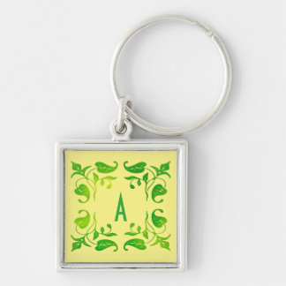 Leaf Monogram 2 Customizable Keychain