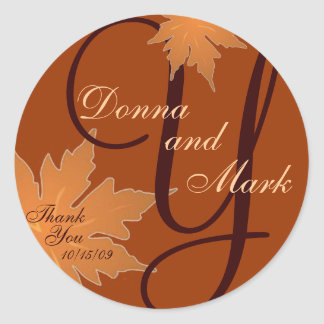 Leaf Monogram Sticker for Invitation
