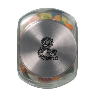Leaf Mosaic Black Textured Ampersand Jelly Belly Candy Jar