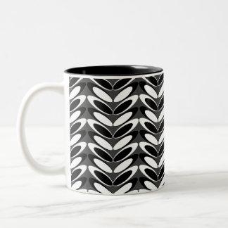 Leaf  N Wave (b&w) Two-Tone Coffee Mug