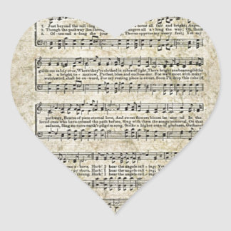 Leaf of music heart sticker