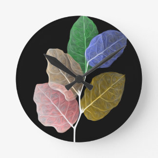 Leaf Oil Painting 4 By Fred Seghetti Round Clock