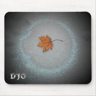 Leaf on snow with moonbeam mouse pad