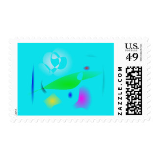 Leaf on the Water Particles Postage Stamps