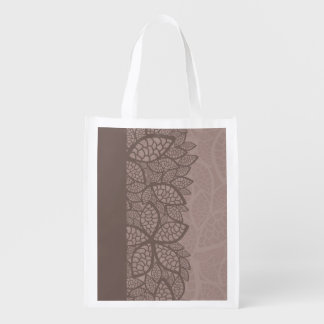 Leaf pattern border and background reusable grocery bags
