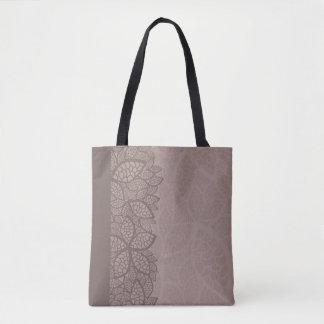Leaf pattern border and background tote bag