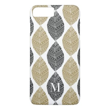 Aztec Themed Leaf Pattern custom monogram phone cases