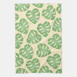 Leaf Pattern, Monstera Leaves on Cream Color. Hand Towels