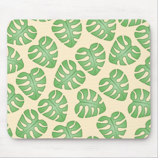 Leaf Pattern, Monstera Leaves on Cream Color. Mouse Pad
