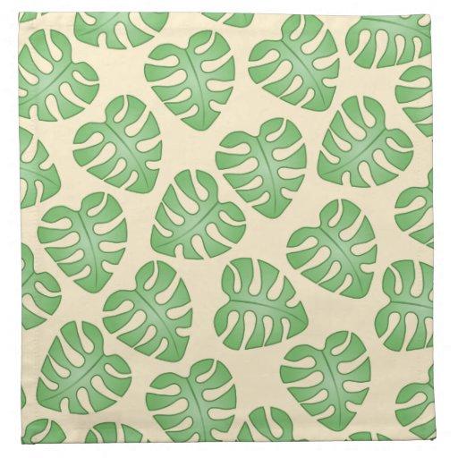 Leaf Pattern, Monstera Leaves on Cream Color. Printed Napkin