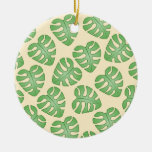 Leaf Pattern, Monstera Leaves on Cream Color. Ornaments